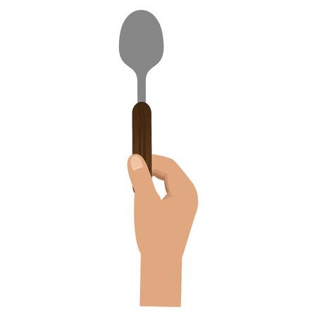 hand with spoon cutlery vector illustration design Stock Illustratie
