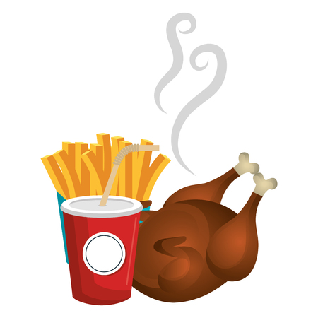 delicious chicken meat with french fries and soda vector illustration design