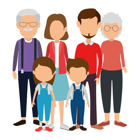 group of cute family members characters vector illustration design Çizim
