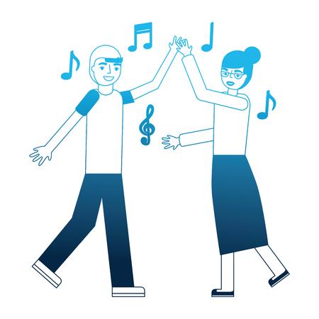 grandmother and grandson dancing music vector illustration blue neon Ilustração