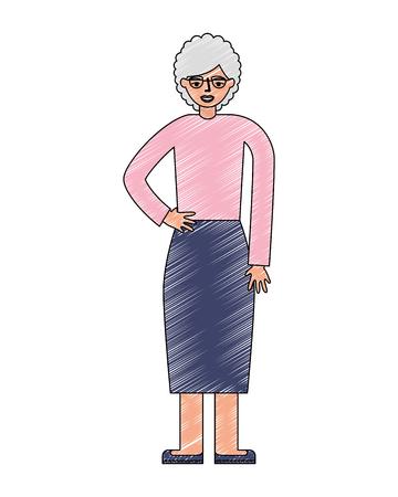 grandma old woman standing character vector illustration