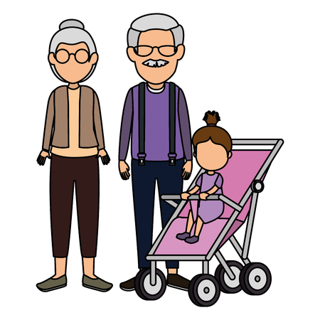 cute grandparents couple with granddaughter in cart vector illustration 일러스트
