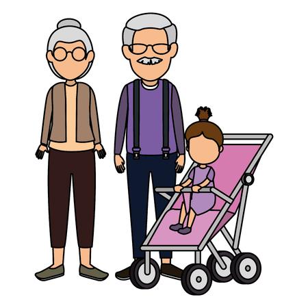 Linda pareja de abuelos con nieta en la ilustración de vector de carro Ilustración de vector