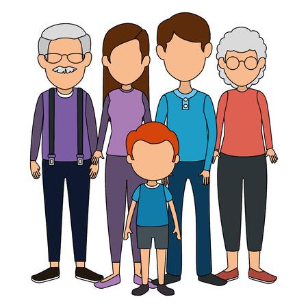 Gruppe von niedlichen Familienmitgliedern Zeichen Vektor-Illustration Design Vektorgrafik
