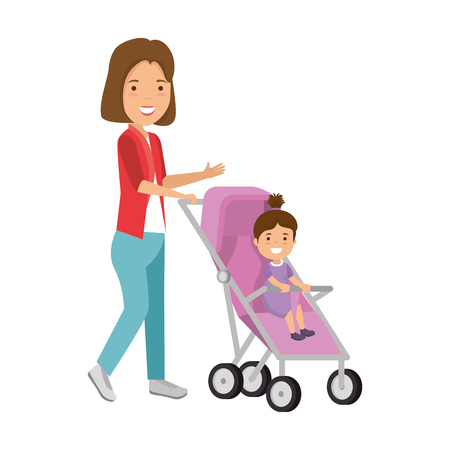 mother with little girl baby in cart vector illustration design Çizim