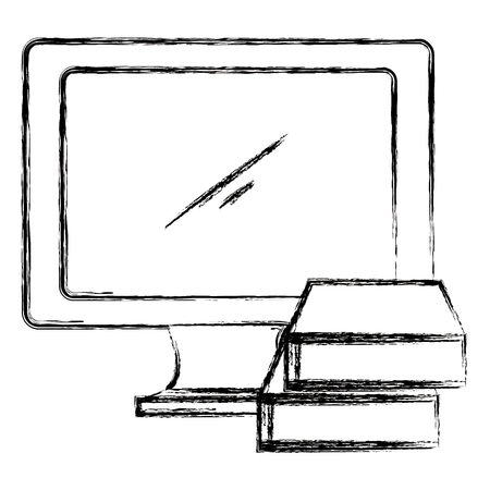 computer display with ebooks vector illustration design