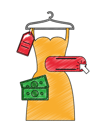 woman dress in wire hook isolated icon vector illustration design 일러스트