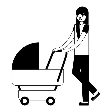 cute mother with baby cart avatar character vector illustration design