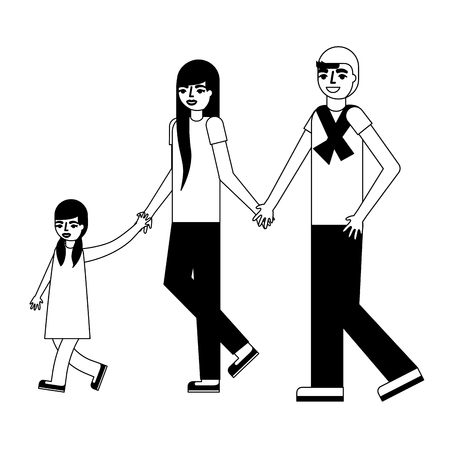 cute family with daughter avatar character vector illustration design
