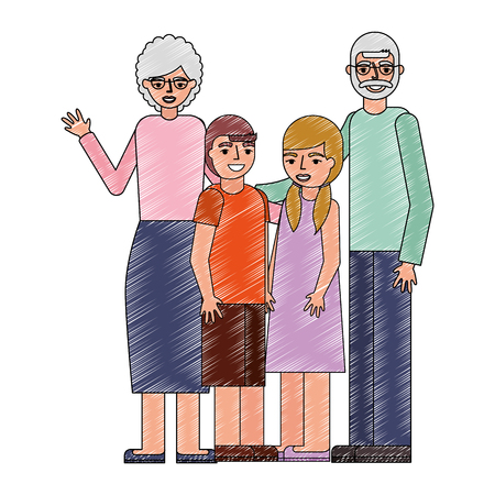 grandparents with grandson and granddaughter vector illustration