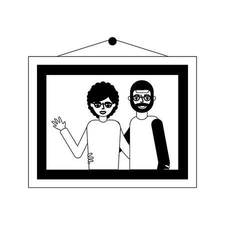 picture grandparents embraced hanging decoration vector illustration monochrome