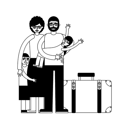 grandparents and grandchild with travel suitcase vector illustration monochrome Ilustrace