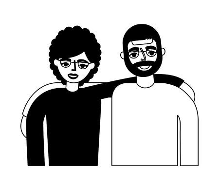 happy grandparents hugging portrait characters vector illustration monochrome