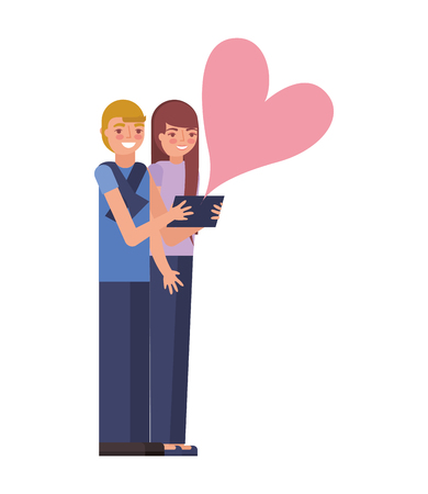couple making selfie love heart vector illustration