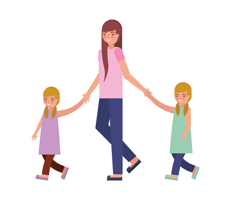 mother with her son and daughter holding hands vector illustration