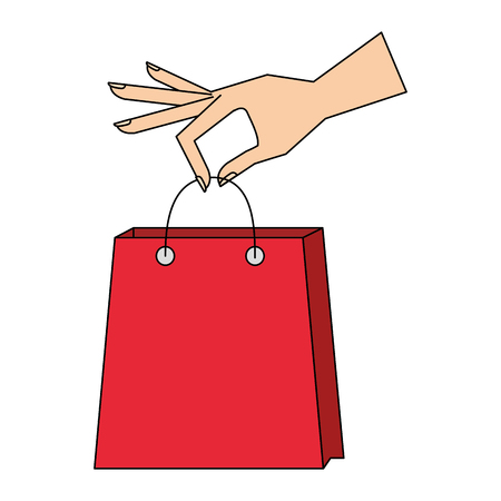 hand holding shopping bag commerce vector illustration