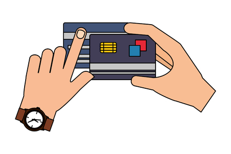 hands holds bank cards shopping commerce vector illustration Illustration
