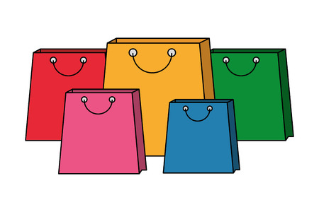 collection shopping bags commerce market vector illustration Illustration