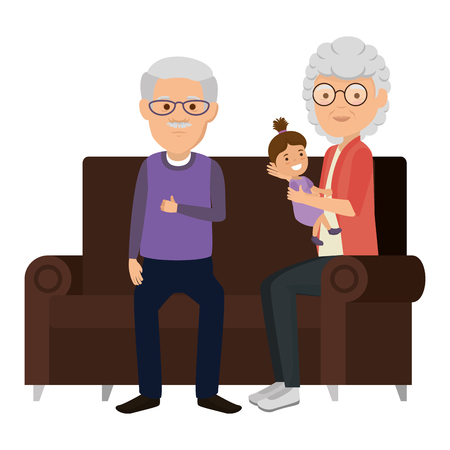 grandparents couple with granddaughter in the sofa vector illustration Reklamní fotografie - 105595000