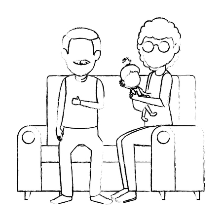 parents couple with daughter in the sofa vector illustration design