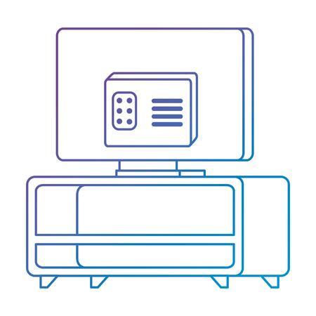 modern tv back in table wooden vector illustration design