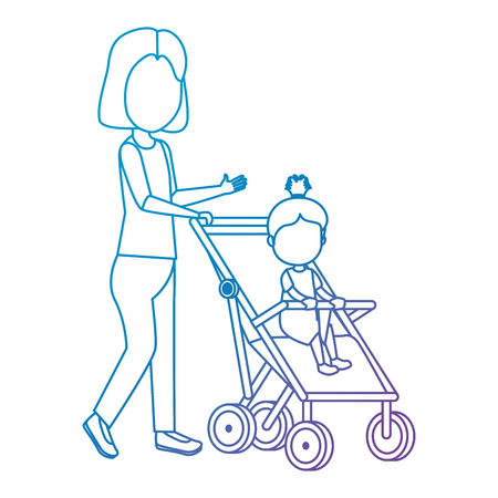 mother with little girl baby in cart vector illustration design Illustration
