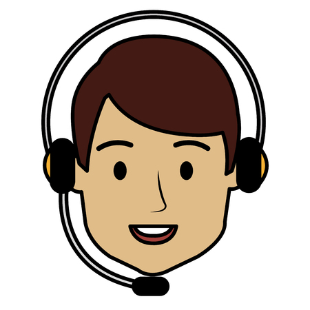 call center agent with headset vector illustration design Stock Photo