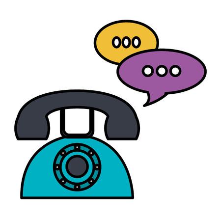Teléfono con burbujas de discurso, diseño de ilustraciones vectoriales Ilustración de vector