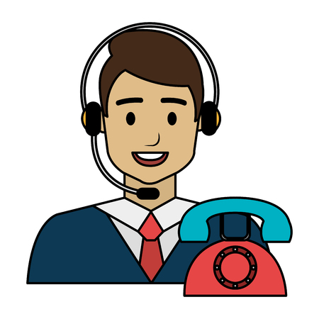 call center agent with headset and telephone vector illustration design 스톡 콘텐츠 - 112389682