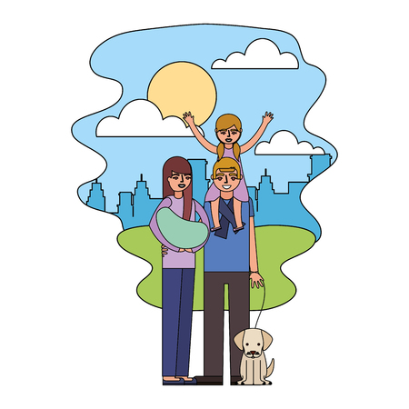 dad daughter and mom holding baby and dog in the park vector illustration