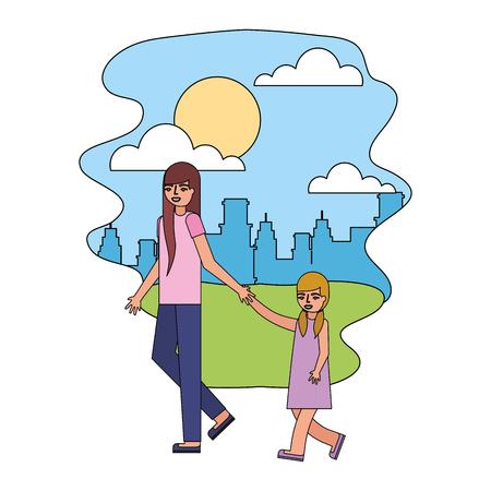 mother holding hand her daughter walking in the park city vector illustration Illusztráció