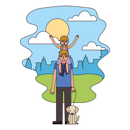 father carrying her daughter on shoulders and holding dog in the park city vector illustration Фото со стока - 112389691
