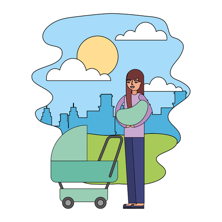 mother carrying her baby on arms and pram in the park city vector illustration