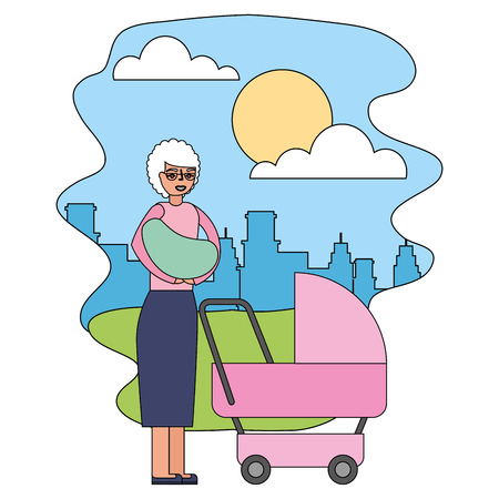 grandmother carrying grandchild on arms and pram in the park city vector illustration
