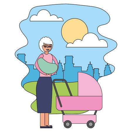 grandmother carrying grandchild on arms and pram in the park city vector illustration Reklamní fotografie - 112389692