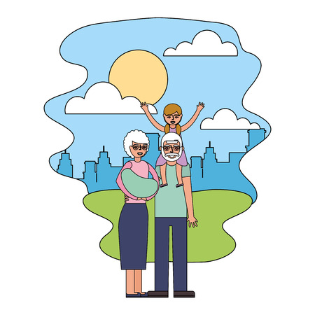 grandmother carrying baby and grandpa with granddaughter in the park city vector illustration Ilustração