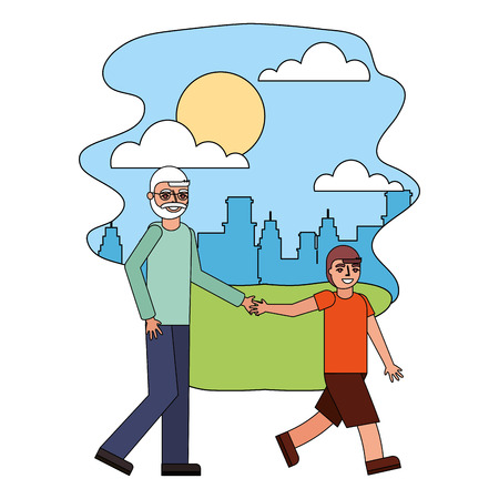 grandfather holding hand grandson walking in the park city vector illustration