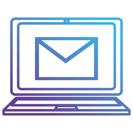laptop with envelope mail vector illustration design
