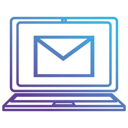 laptop with envelope mail vector illustration design