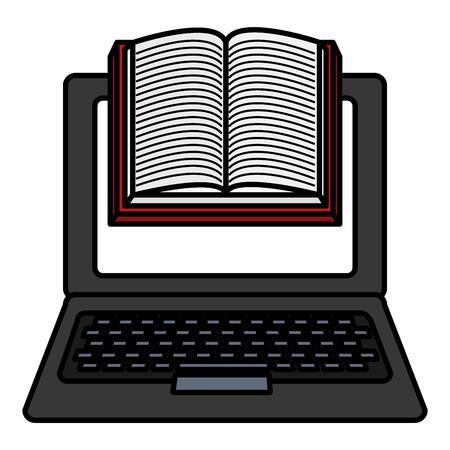 laptop computer with ebooks vector illustration design