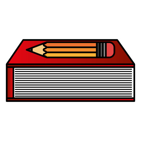 text book school with pencil vector illustration design