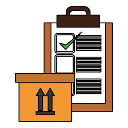 emballage de carton de livraison avec la conception d'illustration vectorielle de liste de contrôle