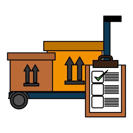 Panier avec boîtes de livraison et liste de contrôle vector illustration design