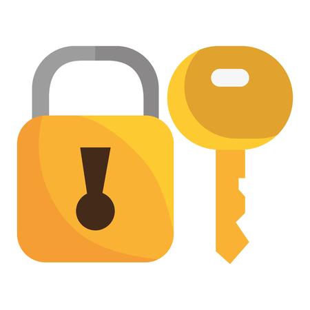 safe secure padlock with key vector illustration design 矢量图片