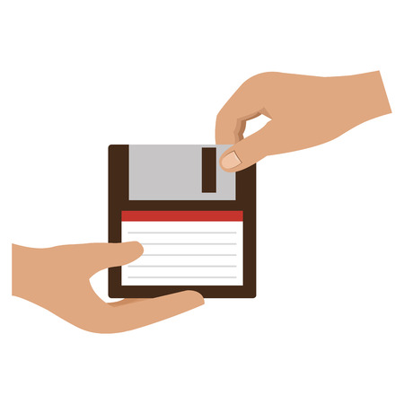 hands with floppy disk vector illustration design