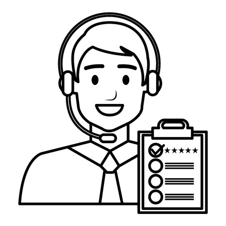 call center agent with headset and checklist vector illustration design