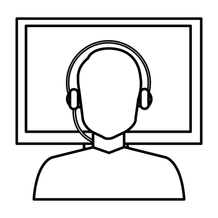 call center woman with headset and display vector illustration design