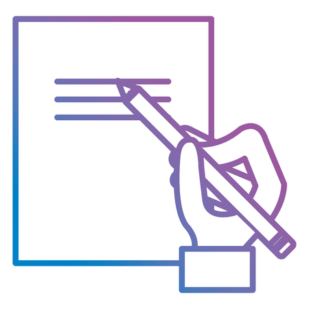 hand writing with pencil in documents paper vector illustration design
