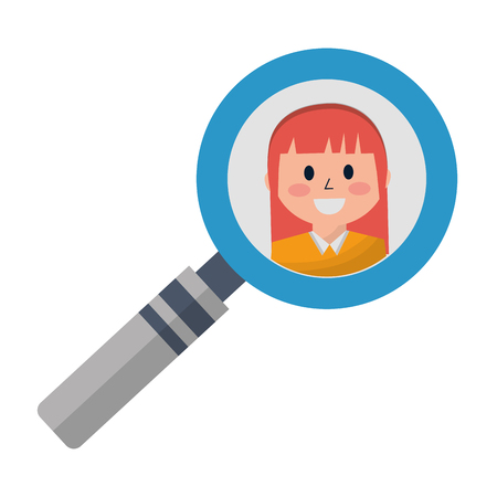 business woman in magnifying glass vector illustration