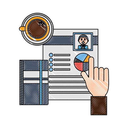 hand with curriculum vitae and objects vector illustration design